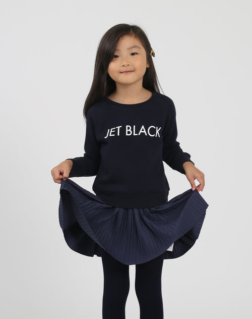 Photo 2 of the Jet Black Little Babes classic crew neck sweatshirt in navy by Brunette the Label.