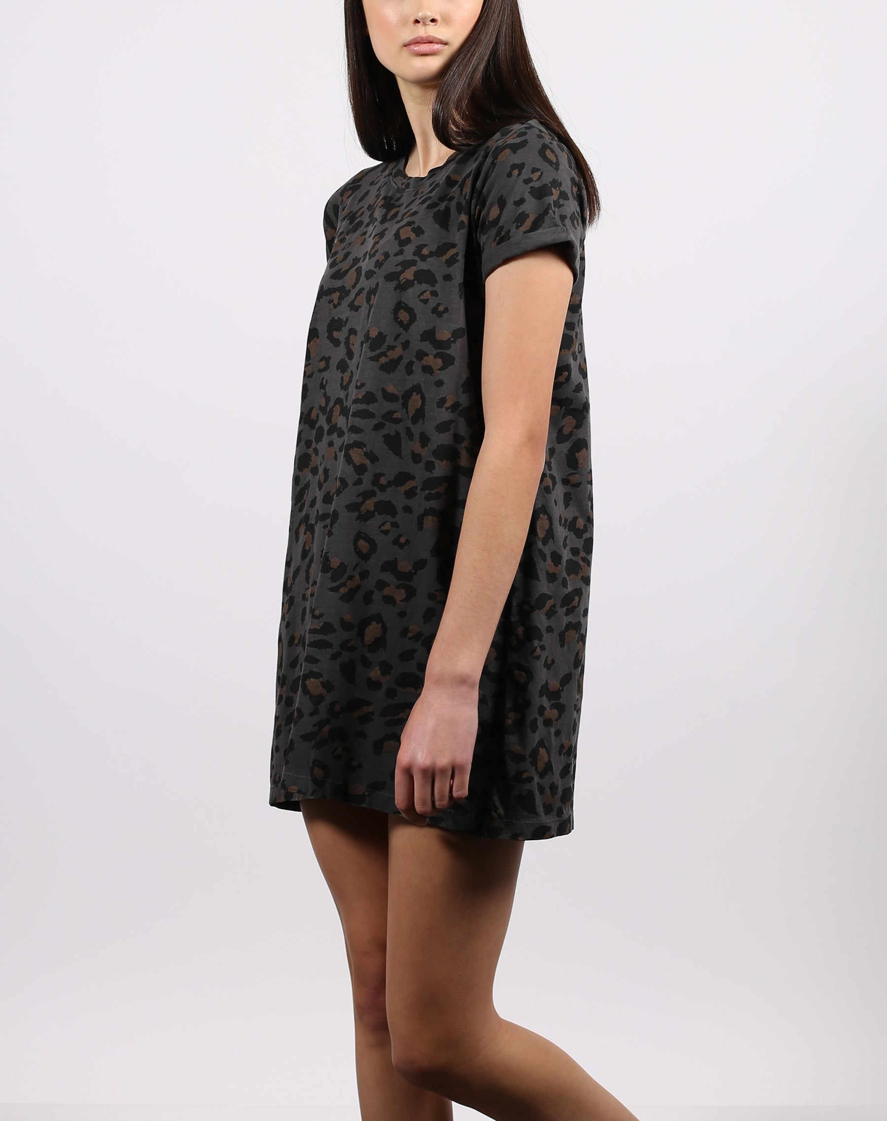 This is the side of the leopard slate t-shirt dress from the 1981 collection by Brunette the Label