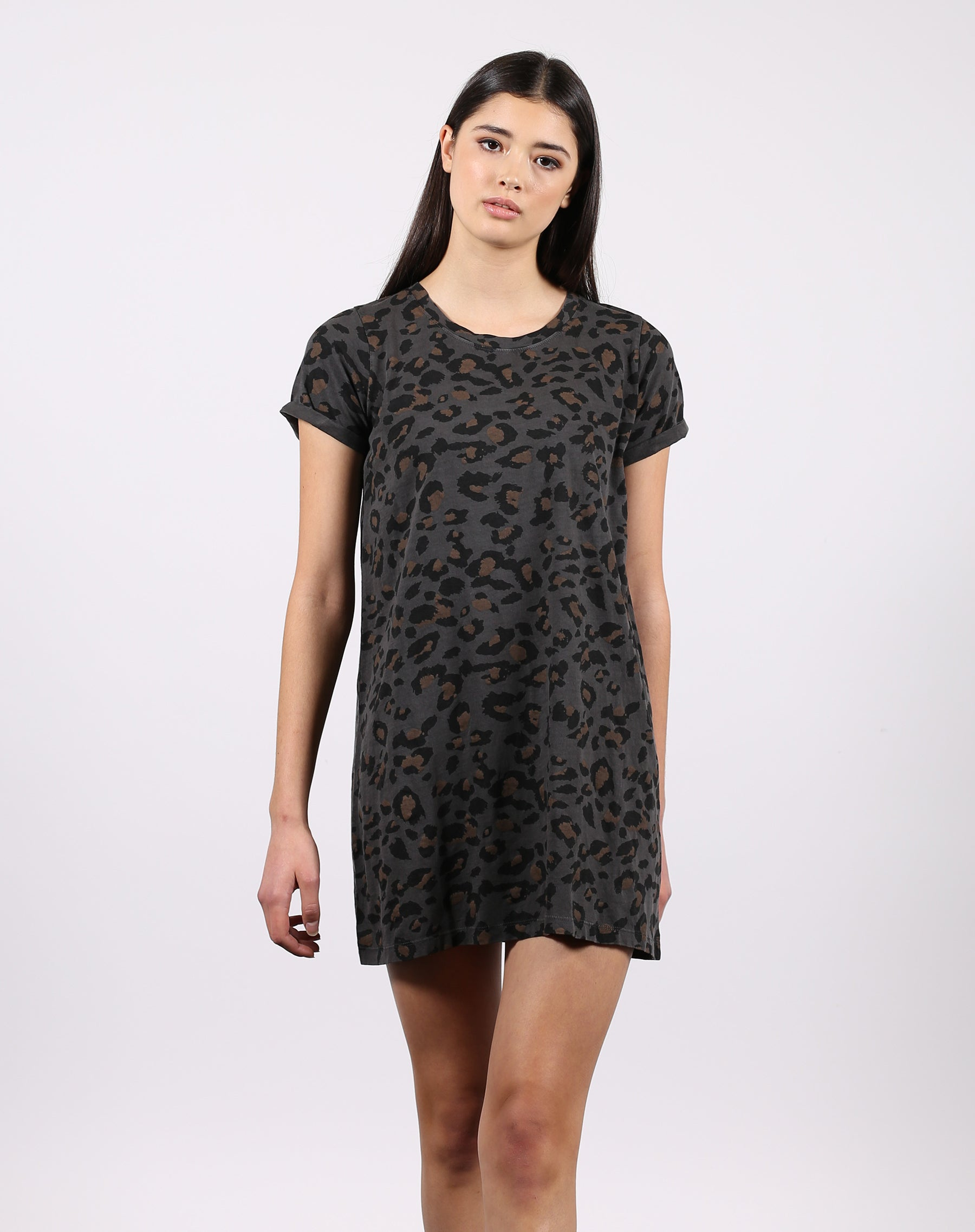 This is the front of the leopard slate t-shirt dress from the 1981 collection by Brunette the Label