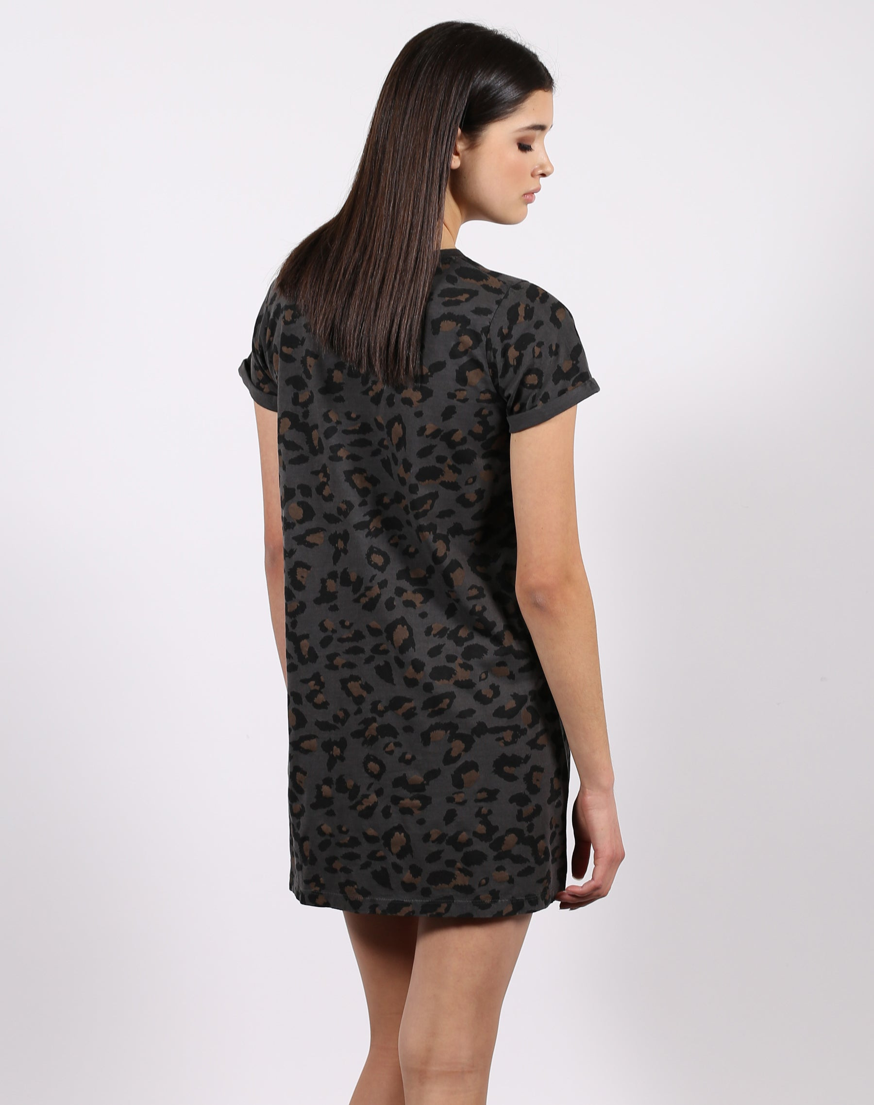 This is the back of the leopard slate t-shirt dress from the 1981 collection by Brunette the Label