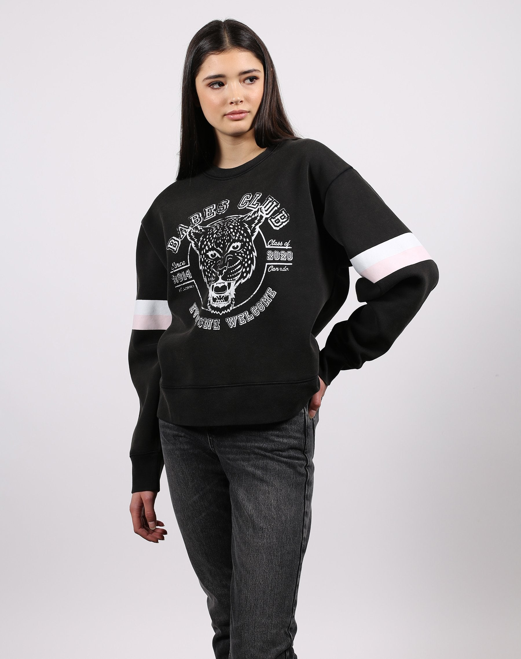 The Leopard Step Sister Crew Neck Sweatshirt in acid wash from the 1981 collection by Brunette the Label
