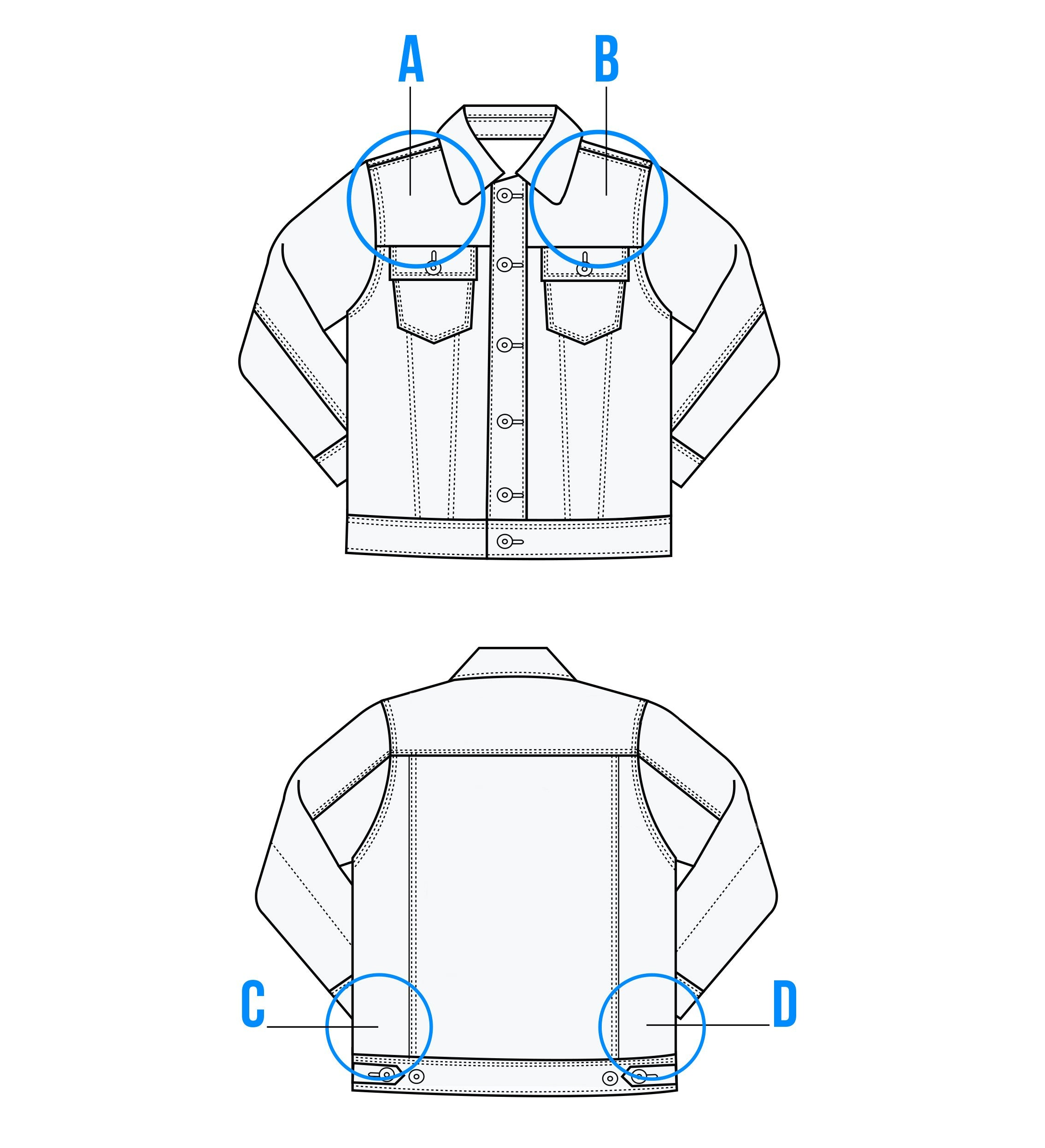 Photo of the areas customizable on the Lindsay denim jacket in light wash by Brunette the Label.