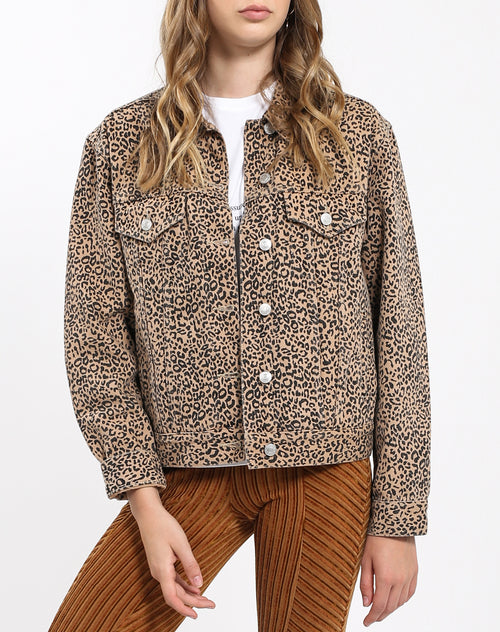 Front of the Lindsay Denim Jacket in Leopard by Brunette the Label.
