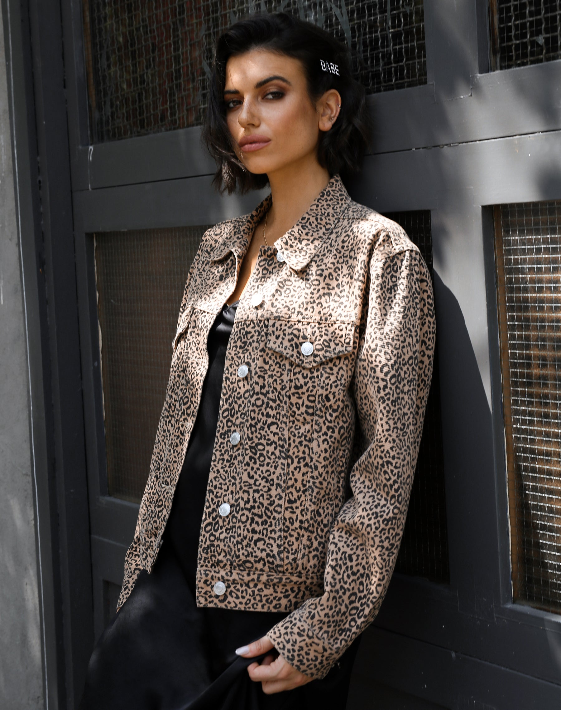 The Lindsay Denim Jacket in Leopard by Brunette the Label.