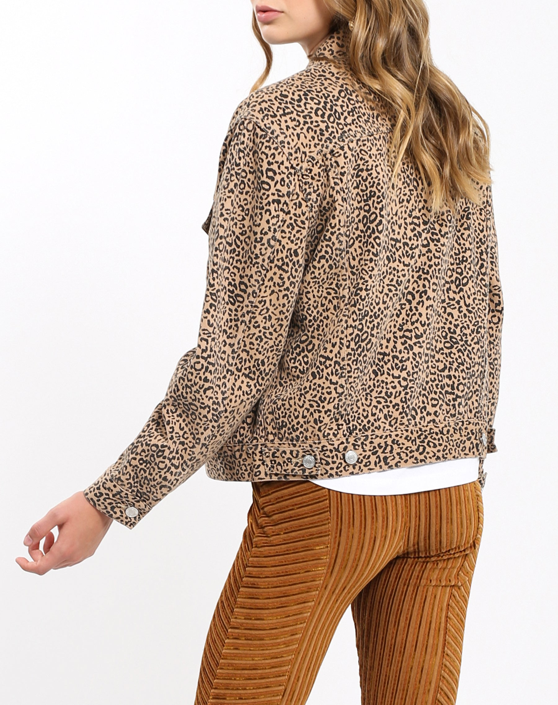 The back of the Lindsay Denim Jacket in Leopard by Brunette the Label.