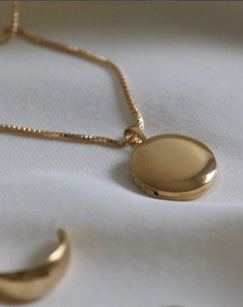 "The ""ROUND LOCKET"" Necklace Box Chain 