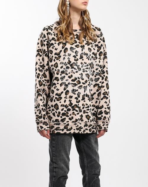 Photo of the front of the Uplift All Babes big sister crew neck sweatshirt in leopard by Brunette the Label.