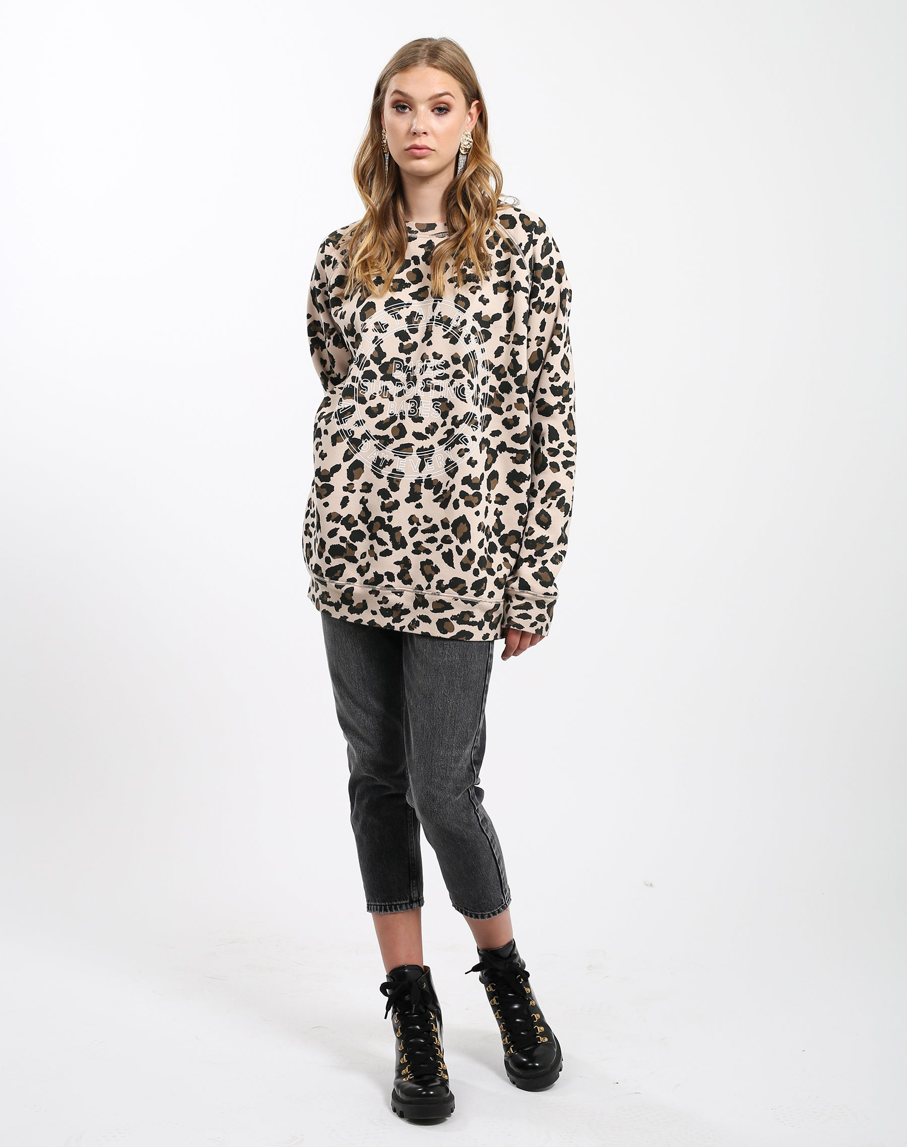 Full photo of the Uplift All Babes big sister crew neck sweatshirt in leopard by Brunette the Label.