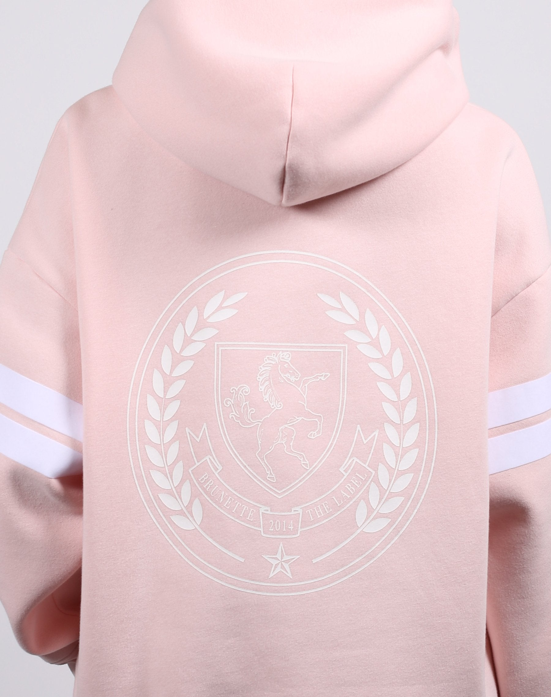 This is a photo of the back of the equestrian crest big sister hoodie in ballet slipper from brunette the label