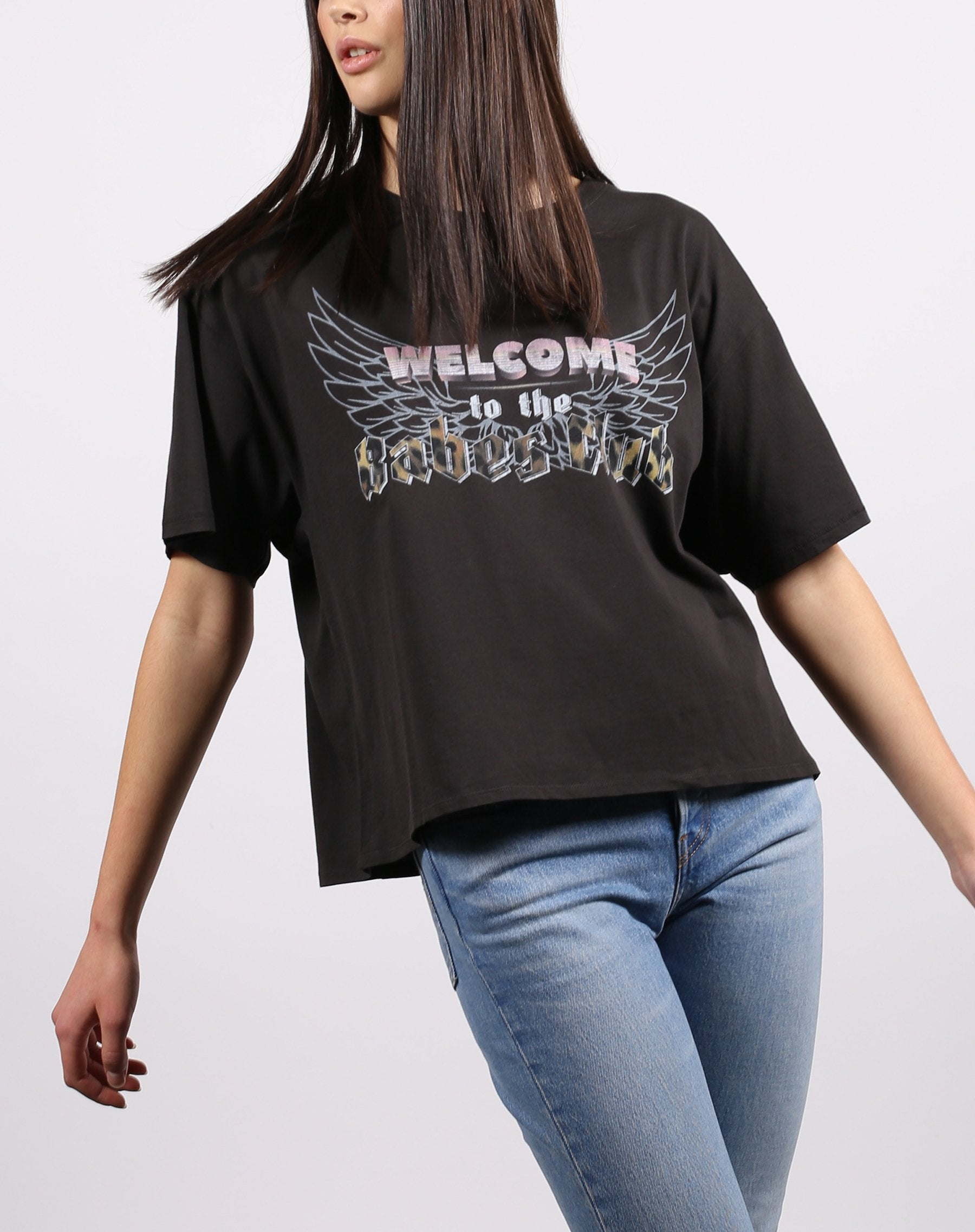 this is a photo of the welcome to the babes club vintage boxy tee in acid wash from the 1981 collection