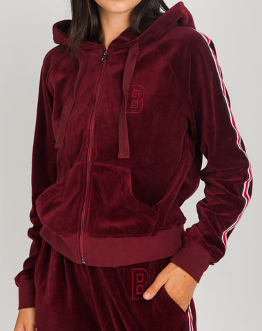 The FLORA Embroidered Zip-Up Hoodie Tunic - PRETTY PINK/BRUNETTE