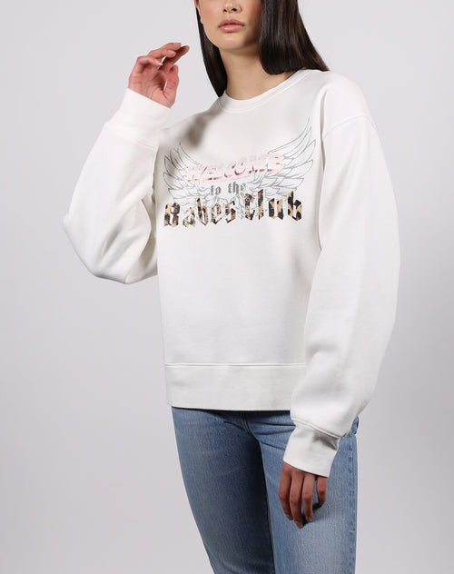 this is a photo of the welcome to the babes club crew neck sweatshirt in marshmallow from the 1981 collection