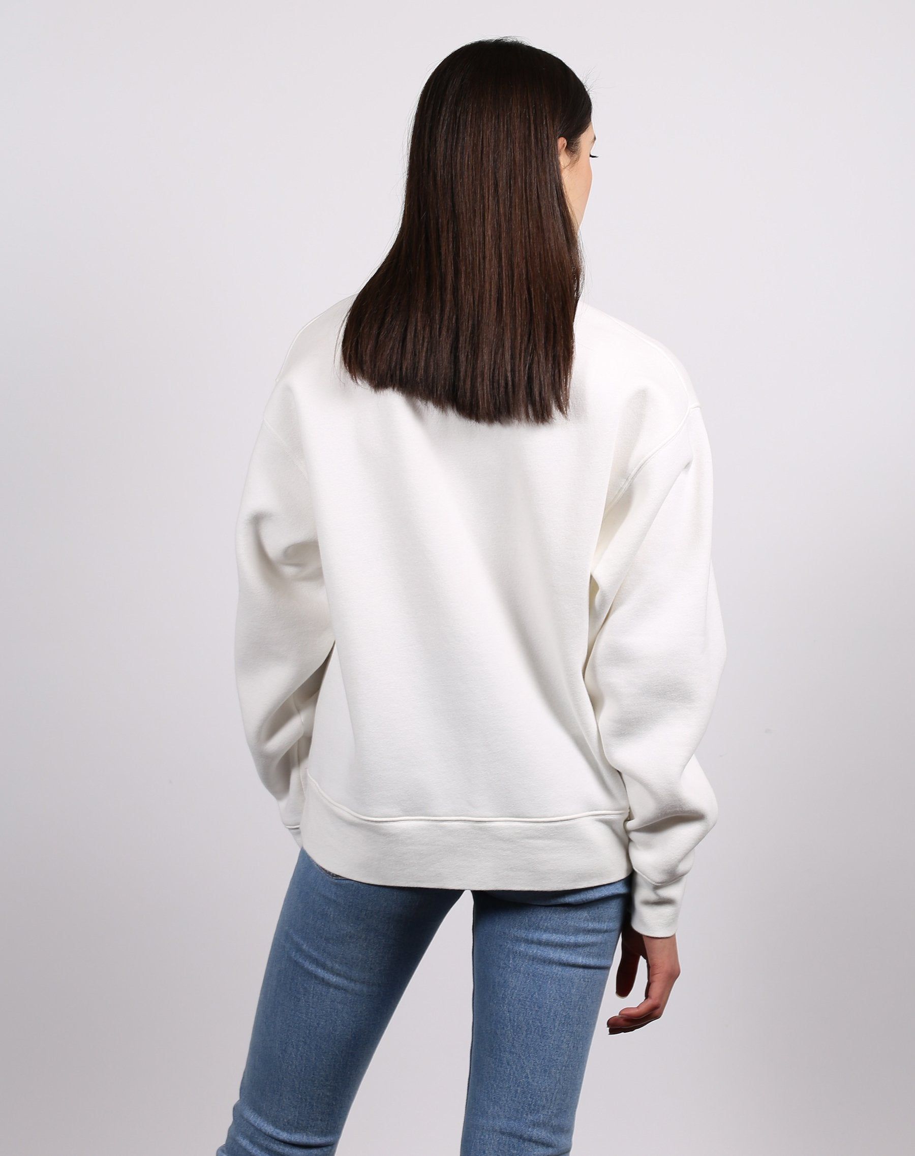 this is a photo of the back of the welcome to the babes club crew neck sweatshirt in marshmallow from the 1981 collection
