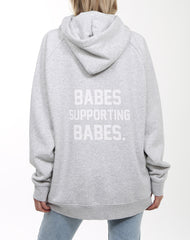 Back photo of the Babes Supporting Babes big sister hoodie in pebble grey by Brunette the Label.