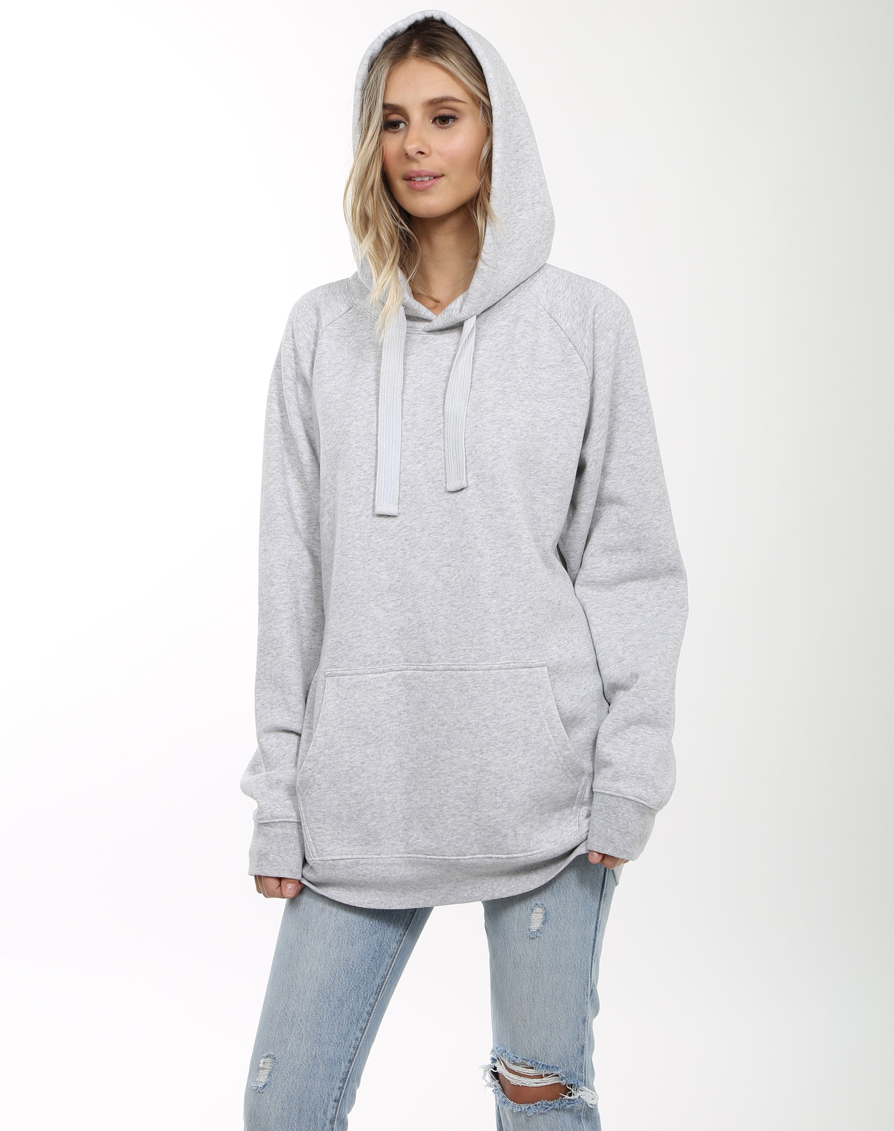 Photo 2 of the Babes Supporting Babes big sister hoodie in pebble grey by Brunette the Label.