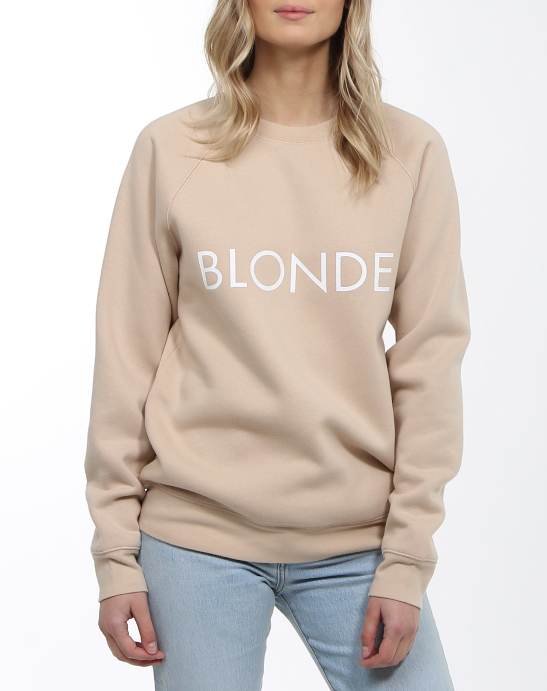 Photo 2 of the Blonde classic crew neck sweatshirt in toasted almond by Brunette the Label.