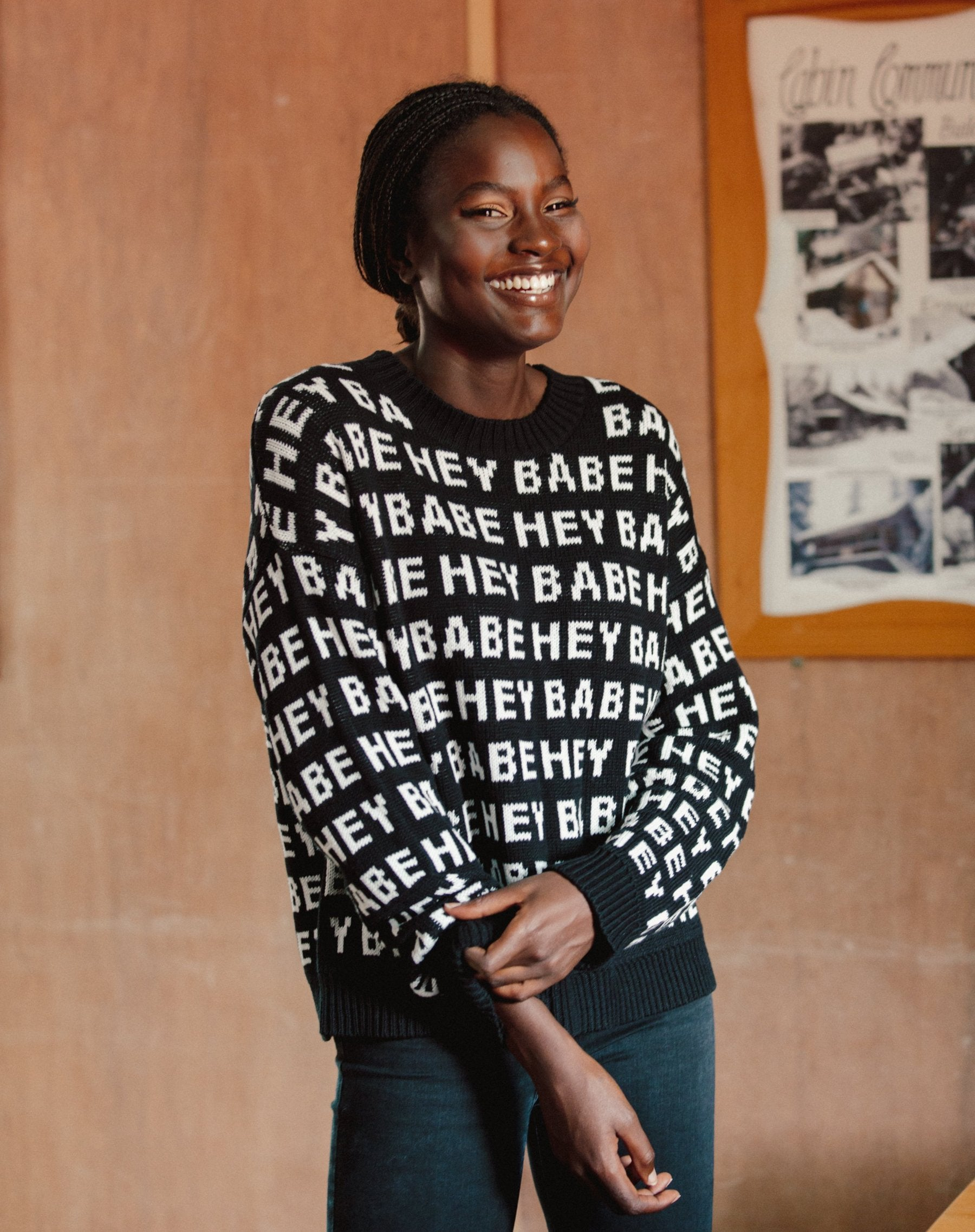 "The ""HEY BABE"" Knit Sweater"