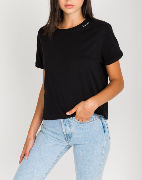 """BRUNETTE"" Embroidered Cropped Tee"