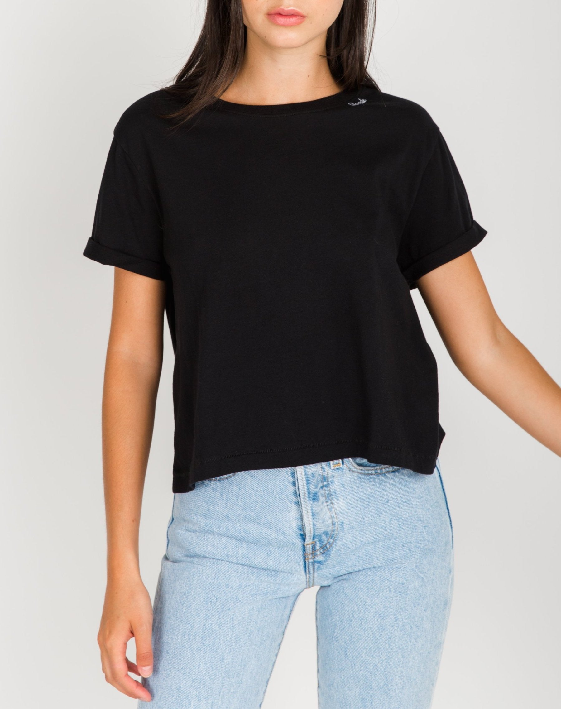 """BLONDE"" Embroidered Cropped Tee"