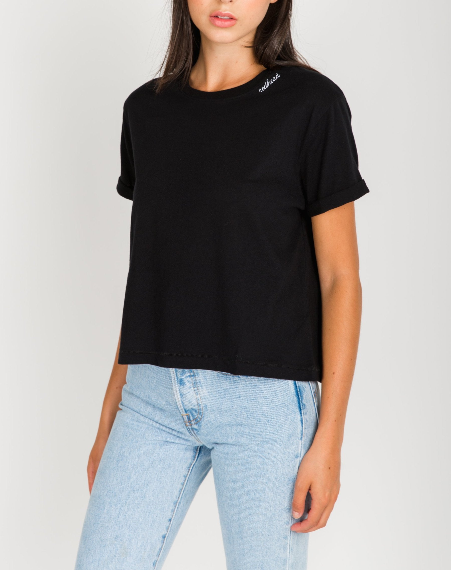 "The ""REDHEAD"" Embroidered Cropped Tee"