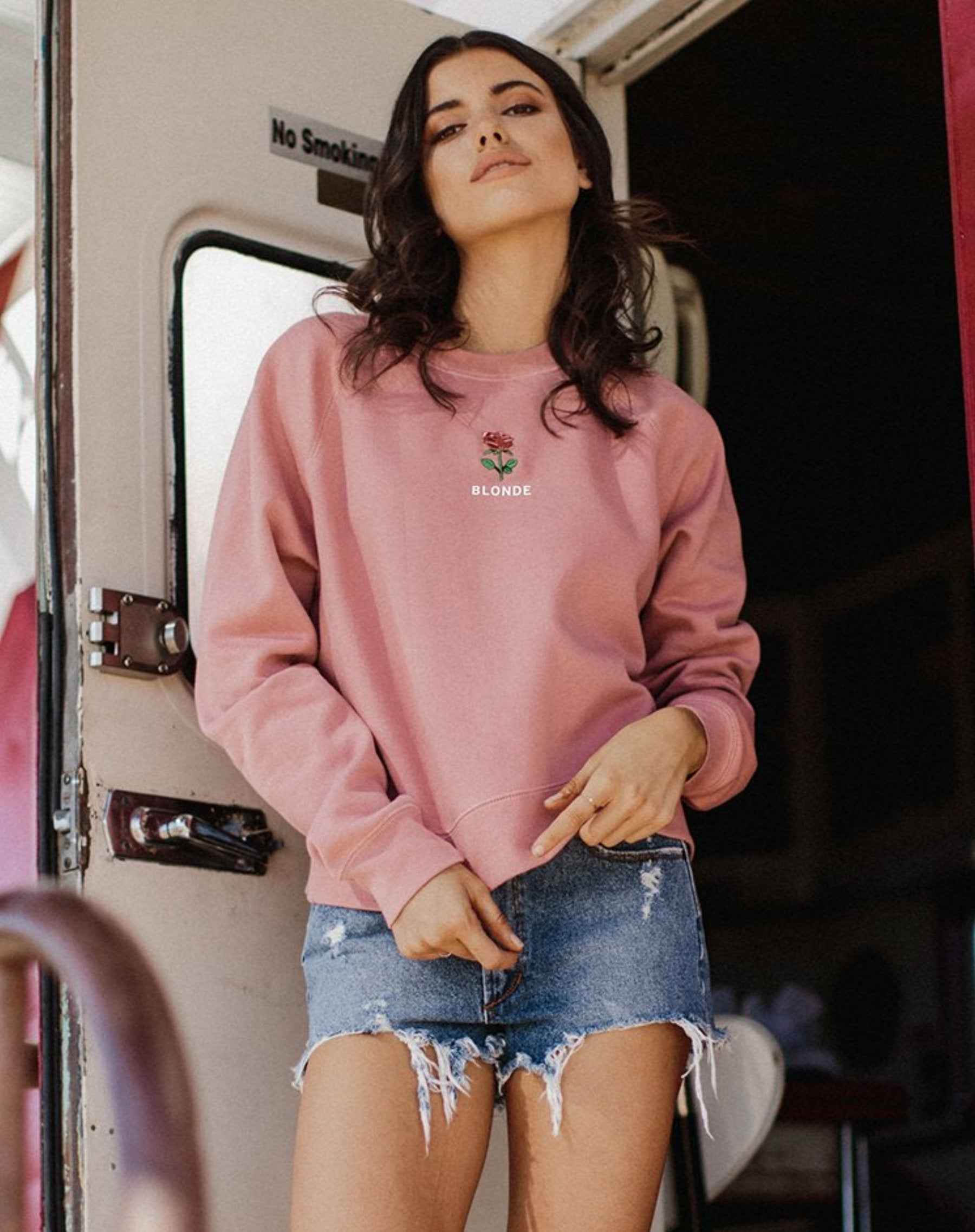 "The ""BLONDE"" Rosie Embroidered Crew 