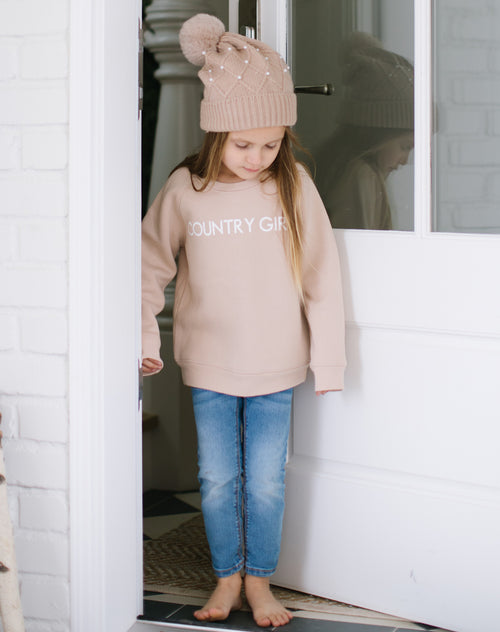 "The ""COUNTRY GIRL"" Little Babes Classic Crew Neck Sweatshirt in Toasted Almond 