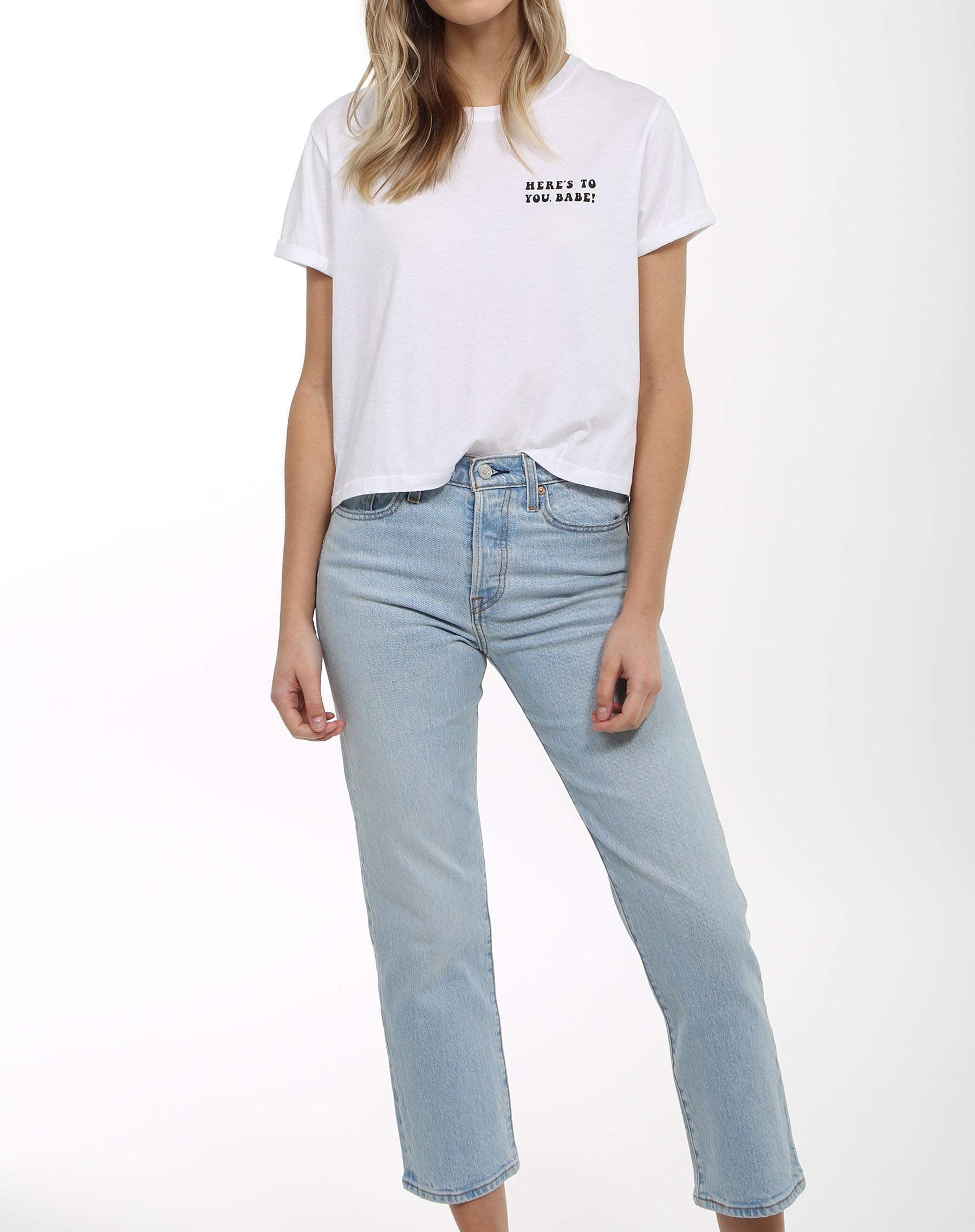 "The ""HERE'S TO YOU BABE"" Cropped Crew Neck Tee 