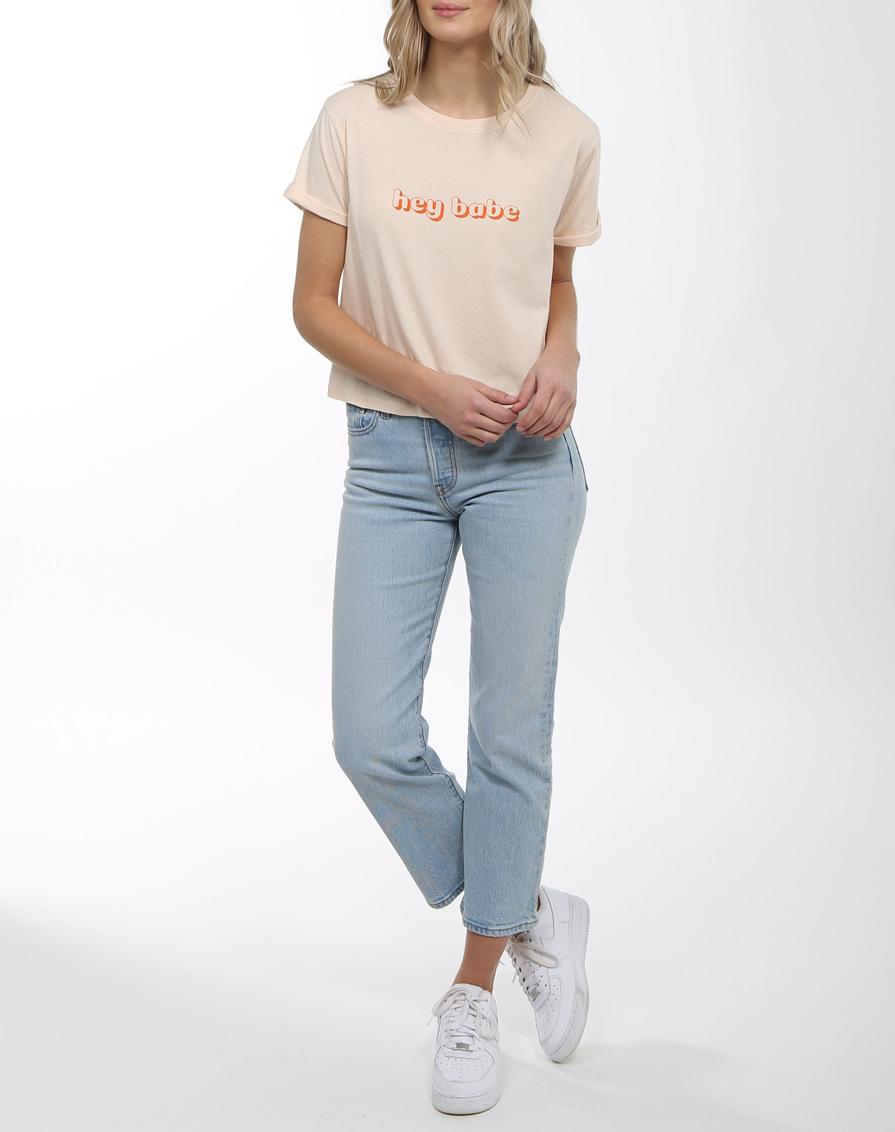 "The ""HEY BABE"" Cropped Crew Neck Tee 
