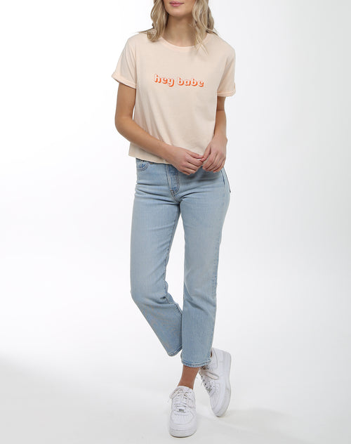 Photo 4 of the Hey Babe cropped crew neck tee in peach crush by Brunette the Label.