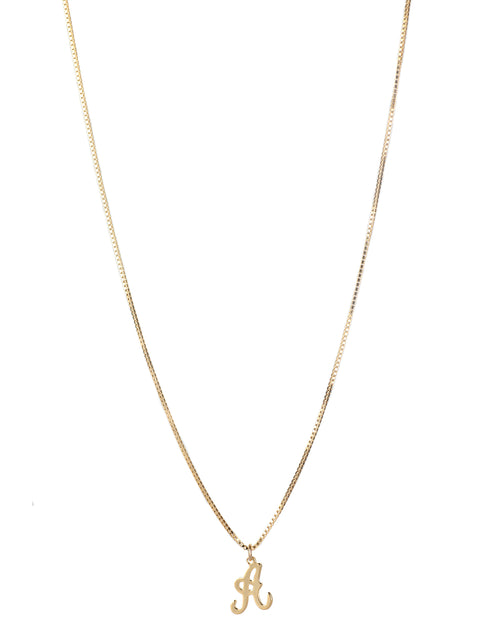 The A Initial Necklace in gold by Lisbeth.