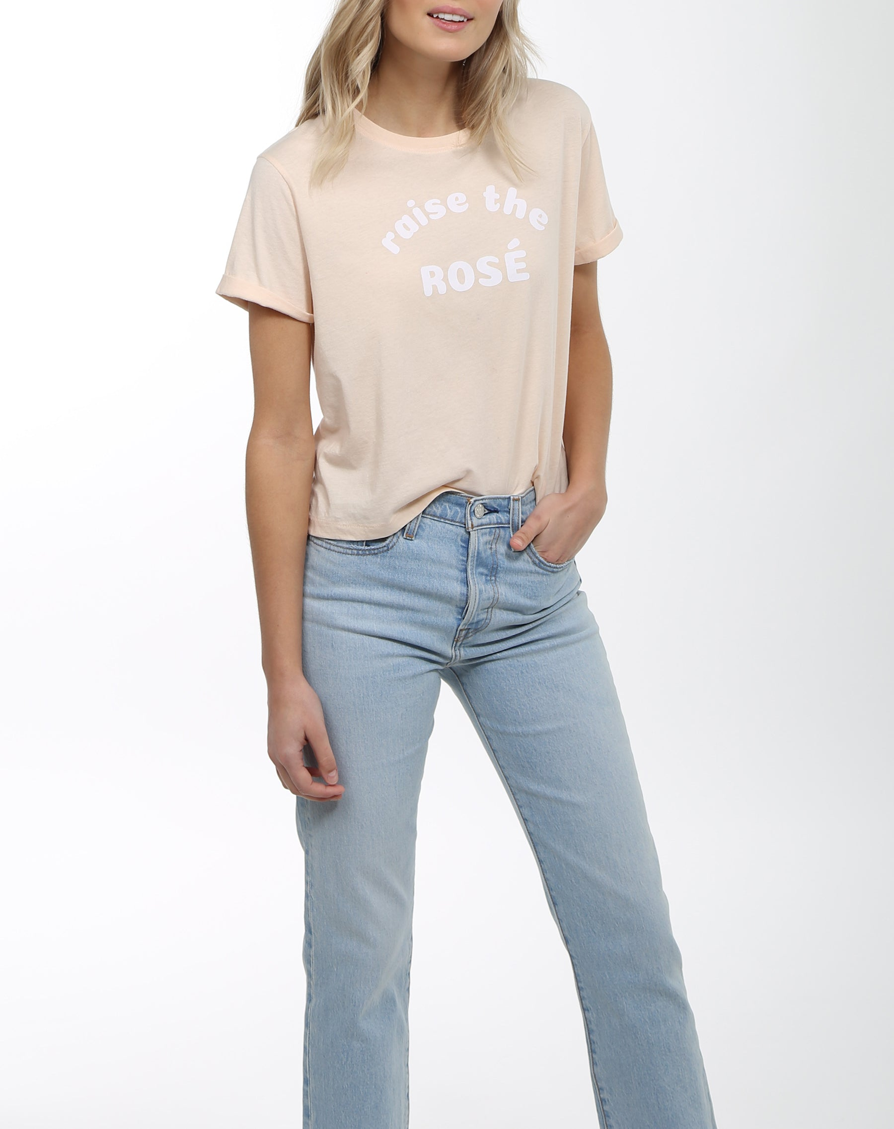 "The ""RAISE THE ROSE"" Cropped Crew Neck Tee 