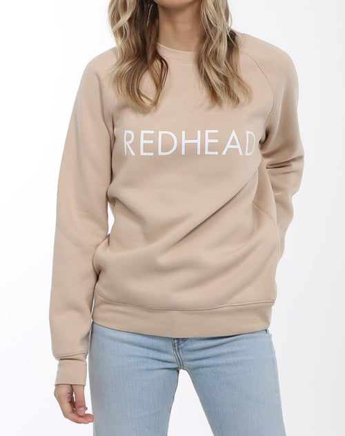 Photo 3 of the Redhead classic crew neck sweatshirt in toasted almond by Brunette the label.