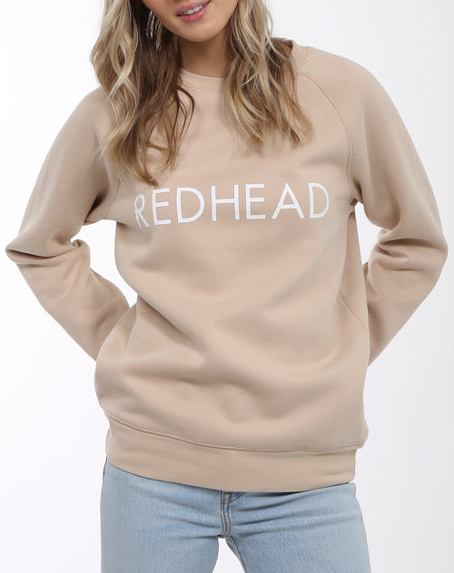 Photo 2 of the Redhead classic crew neck sweatshirt in toasted almond by Brunette the label.
