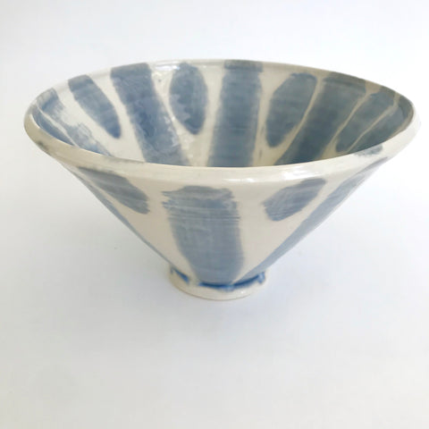 Decorative serving bowl with rainy-blue brushwork