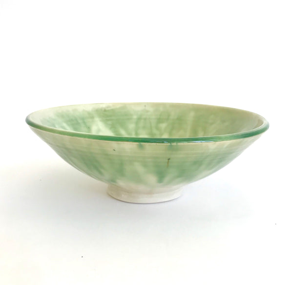 Bowl with feathered green edge