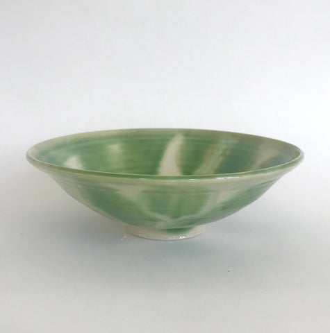 Bowl with large green brushstrokes