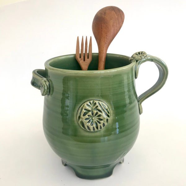 Green Utensil Holder with Flower Stamp