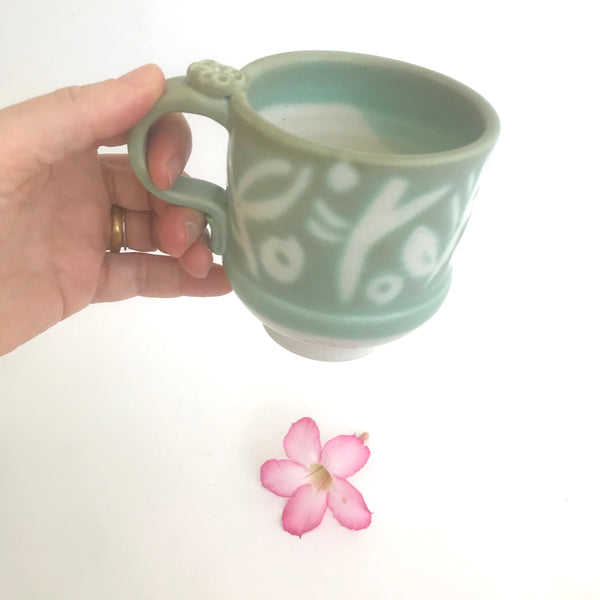 Patterned Green Mug