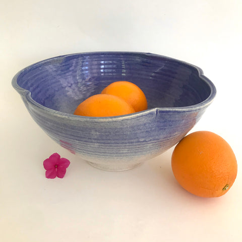 Large Blue Blossom Serving Bowl