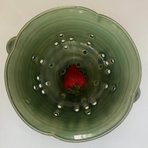 Green Berry Bowl with Handles