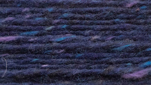 Crolly Donegal Aran Tweed (a deep blue/purple tweed, with blue and purple flecks)