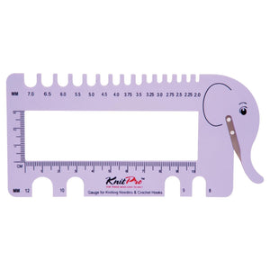 KnitPro Elephant Needle and Hook Gauge with Yarn Cutter