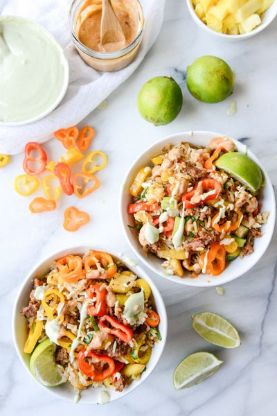 Pineapple Chorizo Rice Bowls with Avocado and Chipotle Cream