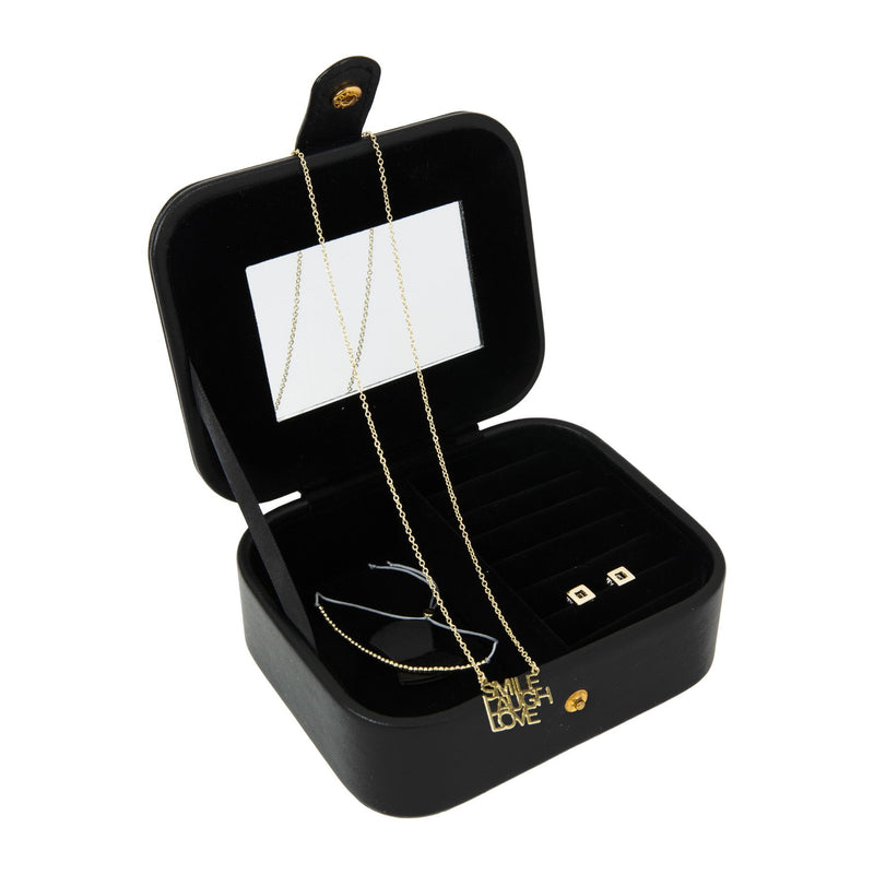 Signography Black Leatherette & Gold Foil Jewellery Box - 18