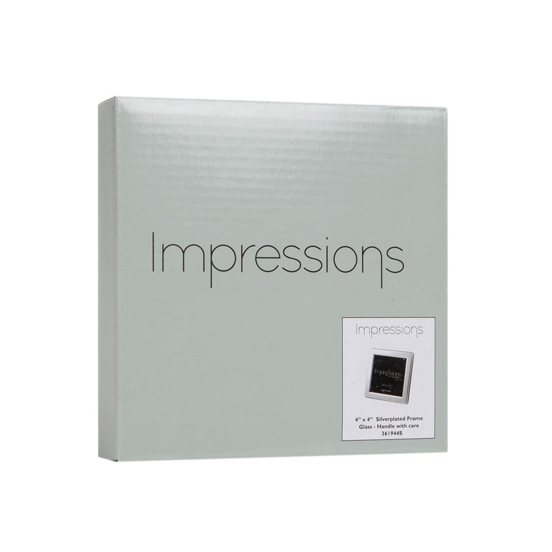 "4"" x 4"" - Impressions Silver Plated Photo Frame Flat Edge"