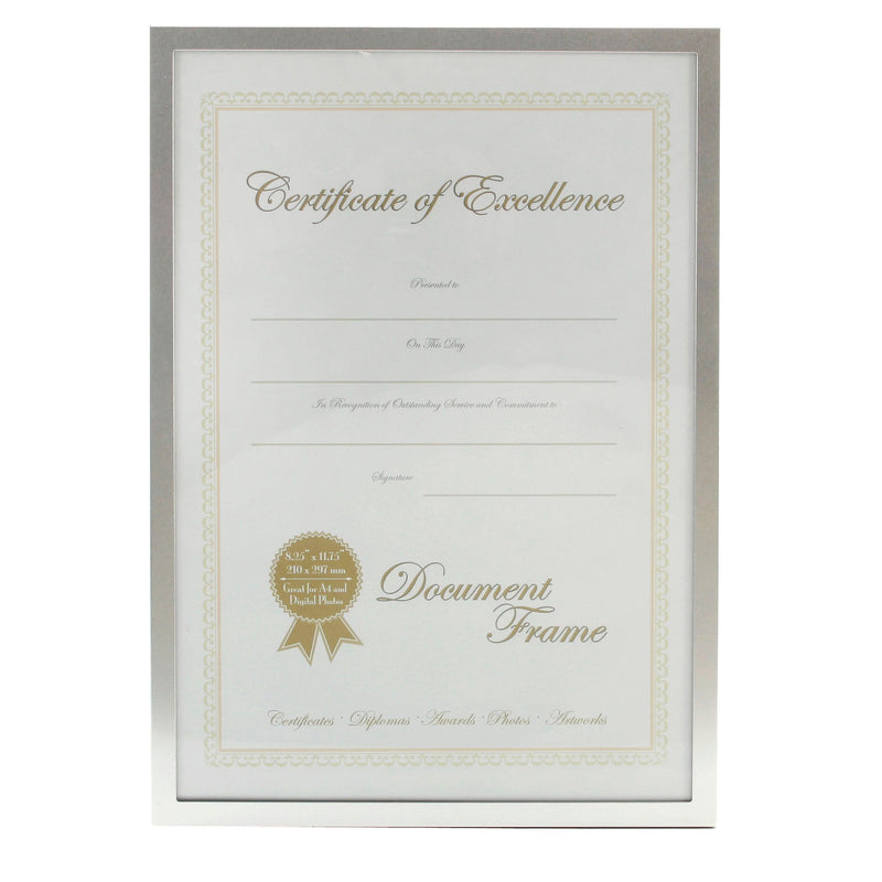 A4 - Impressions Silver Metal Frame with Glass - Certificate