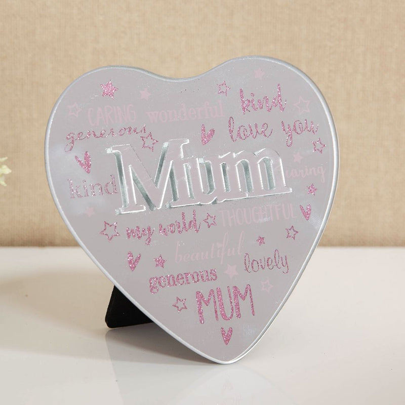 Mirror Heart Plaque with 3D Title - Mum