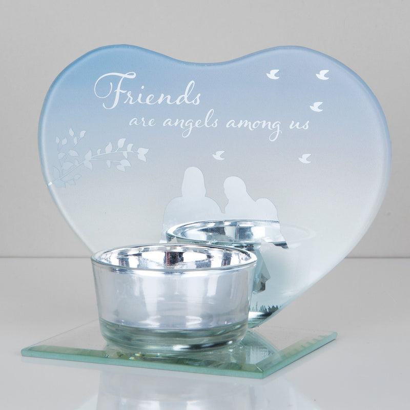 Heart Shape Glass Tealight Holder - Friends