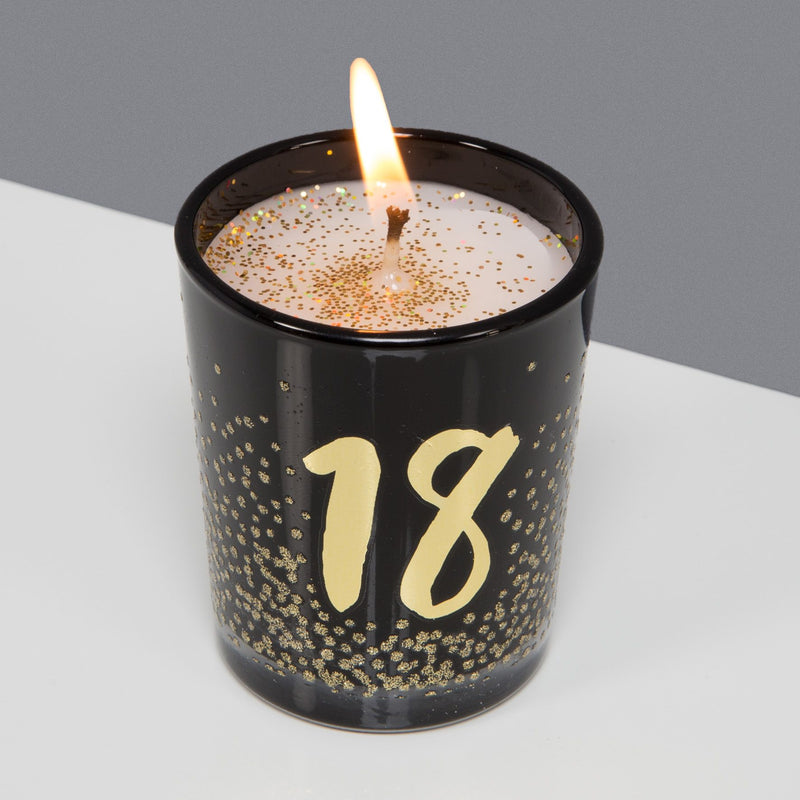 Signography Black Glass Candle with Gold Foil & Glitter - 18