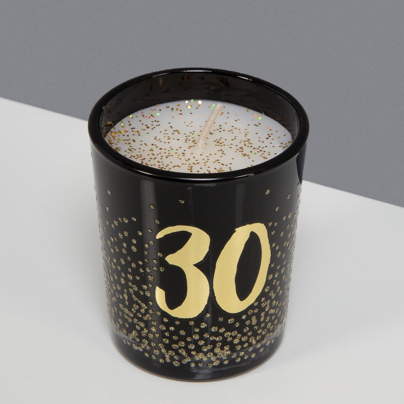 Signography Black Glass Candle with Gold Foil & Glitter - 30